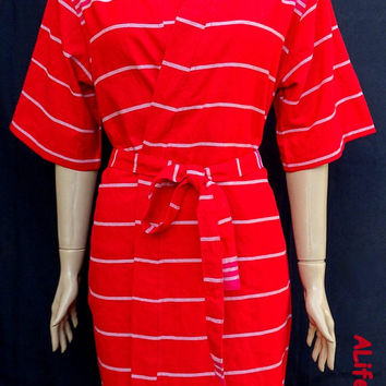 Unique women's red colour soft cotton short kimono cool bathrobe, dressing gown, bridal shower robe, spa robe, beach robe.