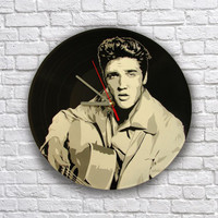 Elvis Presley painted retro vinyl record clock,. Wall clock . Gift for music lover