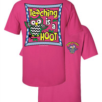 Southern Couture Teaching is a Hoot Owl Chevron Teacher Girlie Bright T Shirt