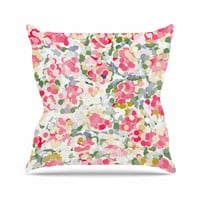"Matthias Hennig ""Soft Dots"" Pink Floral Outdoor Throw Pillow"