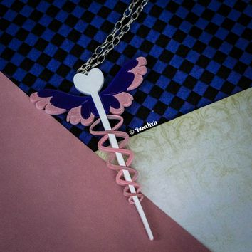 Medical Wand Glitter Pink Necklace