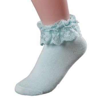Princess Girl Cute Sweet Women Ladies Vintage Lace Ruffle Frilly Ankle Socks Hot Sale