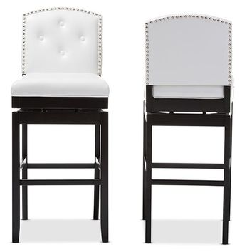 Baxton Studio Ginaro Modern and Contemporary White Faux Leather Button-tufted Upholstered Swivel Bar Stool Set of 2