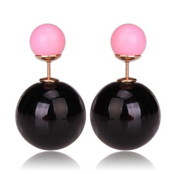 Gum Tee Mise en Style Tribal Earrings - Metallic Black and Pink