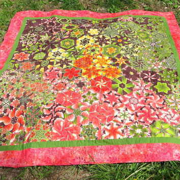 Handmade One Block Wonder Quilt - Asian Inspired Quilt - Geometric Quilt - Lap Quilt