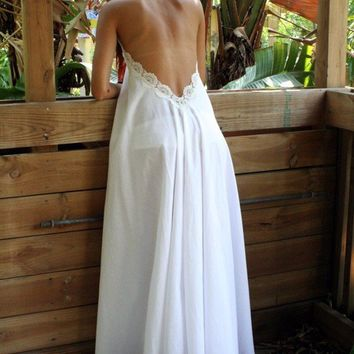 Cotton White Backless Nightgown Lace Halter - Romantic Bridal Lingerie - Select Size and Length