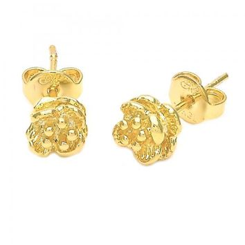 Gold Layered 5.127.025 Stud Earring, Flower Design, Diamond Cutting Finish, Golden Tone