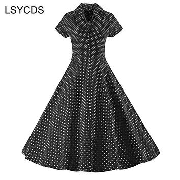 LSYCDS High Quality Women Dot Vintage Turn-down Collar Swing Dress Casual Plus Size Empire Short Sleeve Party Rockabilly Dresses