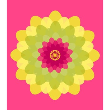 Flower Power No. 1 Lemon Lime, Floral Abstract, Pop of Pink, Fuschia, Neon Yellow, Green, 11x14