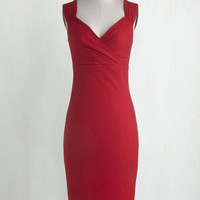 Vintage Inspired Long Sleeveless Bodycon Lady Love Song Dress in Ruby