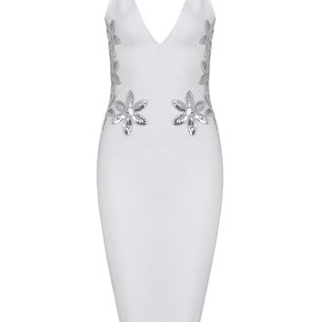 Honey Couture LILIANA White Sequin Detail Midi Bandage Dress