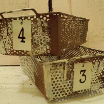Metal basket set with numbered tags rusty painted distressed locker storage style urban farmhouse organizers Anita Spero