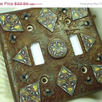 15% OFF SALE Brown Leaf Mosaic Polymer Clay Light Switch Plate Cover