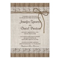 Burlap And Lace Couples Shower Invitation from Zazzle.com