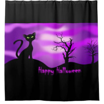 Happy Halloween Black Cat Purple Shower Curtain