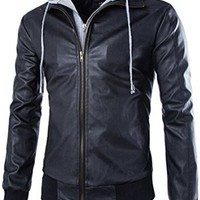 jeansian Men's Fashion Leather Hoodie Jacket Coat 9364