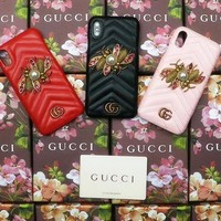 GUCCI BEE New popular logo gucci metal bee iphone7/8 iphone 6plus skin pattern x protective cover.