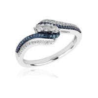 Diamond and Blue Diamond Bypass Fashion Ring 1/3ctw