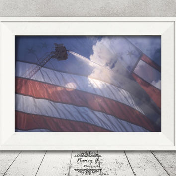 Fire Truck Print, American Flag Print, Wall Art, Firefighter Art, Fire Department, Fine Art Print, Artwork, Office Decor, Firefighter Gift