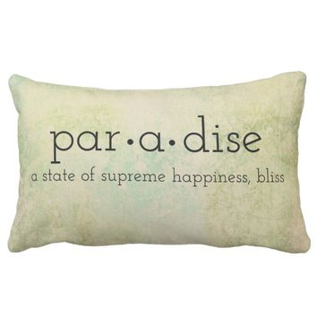 typography quote pillow paradise on pastel colors