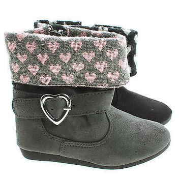 ElenaIISQ by Soda, Infant Baby Girl Heart Folded Ankle Cuff Zip Up Boots