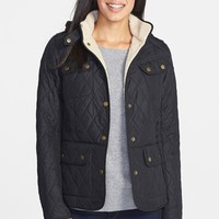 Women's Barbour 'Clearway' Quilted Jacket with Faux Shearling Lining & Removable
