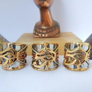 Amazing Set of Three Eye of Horus Cuff Rings #Afrocentric #Egyptian
