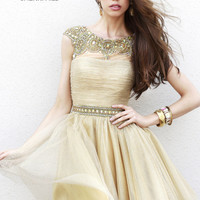 Sherri Hill 32007 - Gold Beaded Short Homecoming Dresses Online