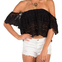 Split Back Crochet Off The Shoulder Crop Top - Black - Large