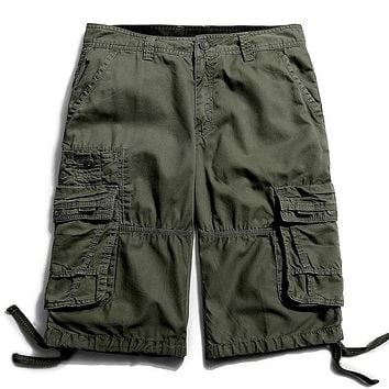 Cotton Summer Loose Cargo-shorts-men