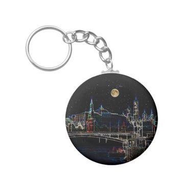 Moscow Kremlin Skyline At Night With Full Moon Keychain
