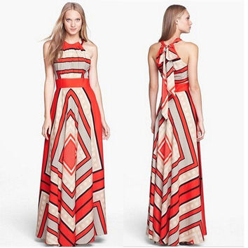 Summer Style Sexy Red Sleeveless A-line Long Dress Women Fashion Halter Off the Shoulder Bohemian Maxi Dress robe longue femme#36
