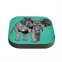 "Pom Graphic Design ""Elephant of Namibia Color"" Coasters (Set of 4)"