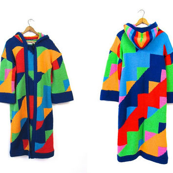 Geometric 60s Mod Hooded Sweater Coat Colorful Retro Color Block Cardigan Duster 1960s Minimalist Jacket Toggle Button Vintage Small Medium