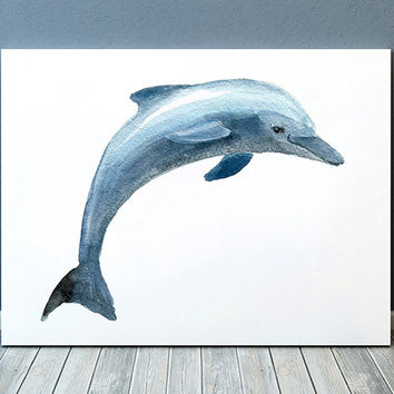 Dolphin print Beach house art Nautical poster Nursery print ACW433