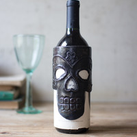 Hand Hammered Sugar Skull Wine Bottle Wrap