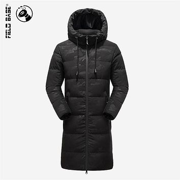 Field Base 2017 New military Mens Winter Parkas X-Long Style Thick Warm Hooded Business Casual Winter Jacket For Men Size 3XL