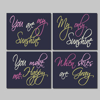 Navy Pink Cream Moss - You Are My Sunshine 8x10 Set of 4 Wall Art Decor Prints Poster Nursery Child Kid Room Typography