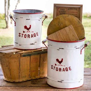 Country Large set of 2 Distressed Tin STORAGE Buckets w/ Wooden Handles