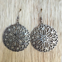 Morning Star Medallion Earrings - Silver