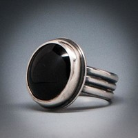 Black Onyx Rings with Tri-Ring Band
