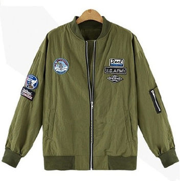 2016 Bomber Jacket Women Autumn Fashion Patched Badges Military Army Green Baseball Outwear Chaquetas Mujer Women Basic Coats