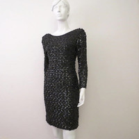 Vintage 80s Black Sequin Open Back Dress by a la Carte made in USA Stretchy Body Con Scoop Back M