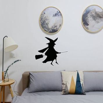 Halloween Witch Riding Broom 08 Vinyl Wall Decal - Removable (Indoor)
