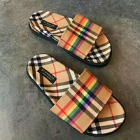 Burberry Woman Men Fashion Slipper Flats Shoes