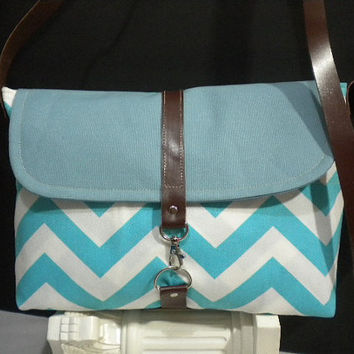Blue Chevron and  TealCanvas Maycas Daily by maycascollection