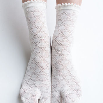 Women New Hezwagarcia Must Have Japan Edition High Quality Basic Tabby Split Toe Socks White
