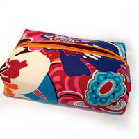 Bright Colorful floral Clutch, Jewelry Bag, makeup bag, or Travel Toiletry Case