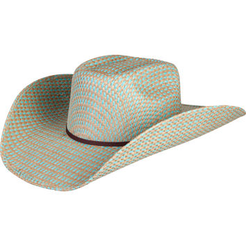 Turquoise Jute Brick Crease Rodeo King Straw Hat