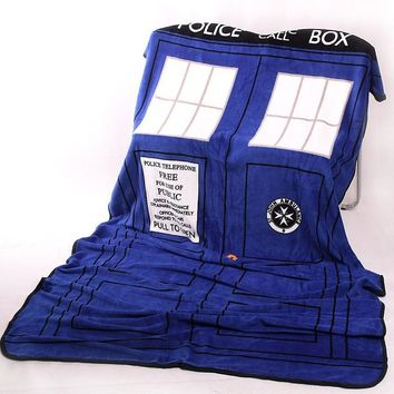 Cool Doctor Who Cosplay TARDIS Blankets Coral Fleece Police Box Cosplay Carpet Throw Blankets Blue Bed Sheet 127*226cm Free ShippingAT_93_12